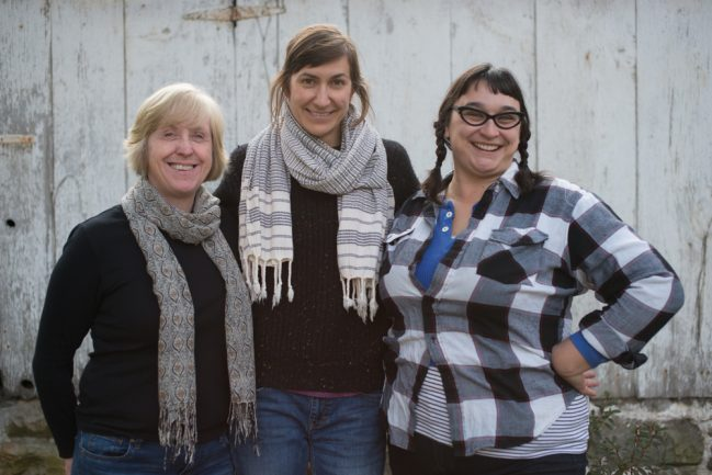 From left, Sue Miller, Stefanie Angstadt and Alex Jones brought together their collective talents to form the Collective Creamery CSA in 2016. (Submitted photo)